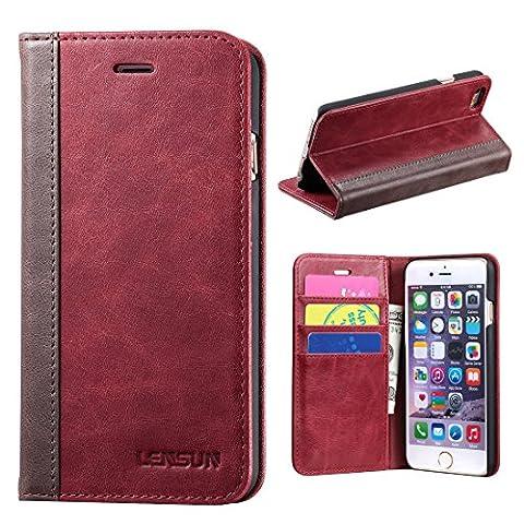 """Coque iPhone 6, Lensun Housse Étui Portefeuille en Cuir Authentique pour Apple iPhone 6 / 6S 4.7"""" – Vin Rouge (6G-FG-WR)"""