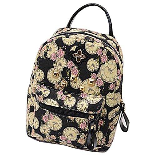 Gaorui zaino zainetto donna ragazza borsa tela bag stampa orologio vintage backpack nero