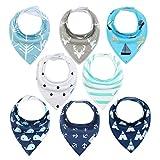 Baby Dreieckstuch Lätzchen 8er Saugfähig Weich Spucktuch Lätzchen Baumwolle Halstücher mit Druckknöpfen für Baby Jungen und Mädchen Kleinkinder von YOOFOSS (Junge)