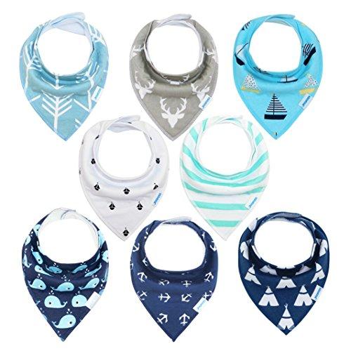 Baberos Bebé Baberos Bandanas para Bebés y Niños, 8 pcs 100% Algodón Orgánico de YOOFOSS (Niños)