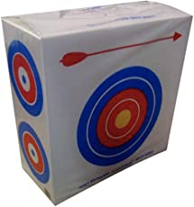 Drew Polystyrene Foam Archery Target 2 ' Square with a Large Bull s Eyes on One Side for Beginners and Four Smaller Bull s Eyes on The Other Side for Experienced Archers Great for Light Weight Bows