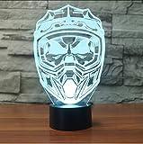 Zlxzlx Kreative 3D Led Nightlight Usb Beleuchtung 7 Bunte Visuelle Motorrad Helm Maske Schreibtischlampe Wohnkultur Schlaf Leuchten Geschenke