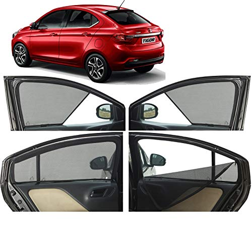 Autofact Half Magnetic Window Sunshades/Curtains for Tata Tigor [Set of 4pc - Front 2pc Half Without Zipper ; Rear 2pc Full with Zipper] (Black)