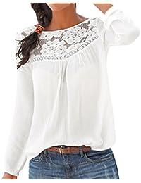 Mujer Casual Sexy Verano Top Las Camisa Blusa Superior de Encaje Casual de Manga Larga para