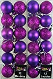 24 er Set Mini Shine Glitter Weihnachtskugeln Christbaumkugeln, Weihnachtsdekoration, HOT PURPLE