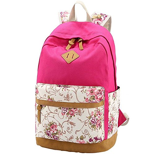 TLZR Fresh, Country House Style Print Rucksack Lässig Schulrucksack Rucksack Reiserucksack Mädchenrucksack Rose Red
