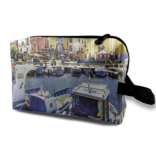 Travel Hanging Cosmetic Bags Procida Island Fishing Boats Multi-Functional Toiletry Makeup Organizer -