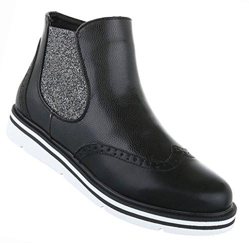Damen Schuhe Stiefeletten Stiefel Chelsea Boots Mit Stretch Schwarz Schwarz