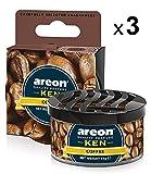 Areon Ken Deodorante Auto Caffè Ambiente Profumatore Contenitore Scatola Originale Profumo Interni Casa 3D ( Coffee Set x 3 )