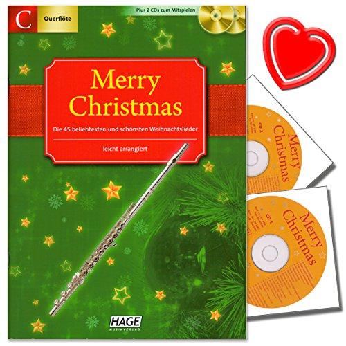 Merry Christmas für C-Instrumente (Querflöte, Oboe) - 45 Weihnachtslieder plus 2 CDs zum Mitspielen - mit bunter herzförmiger Notenklammer