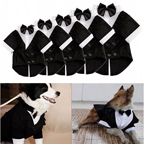 Kostüme Smoking (Kungfu Mall Haustier Hund Katze Kleidung Welpen Fliege Shirt Hochzeit Klage Smoking Kostüm Hemd mit Kragen)