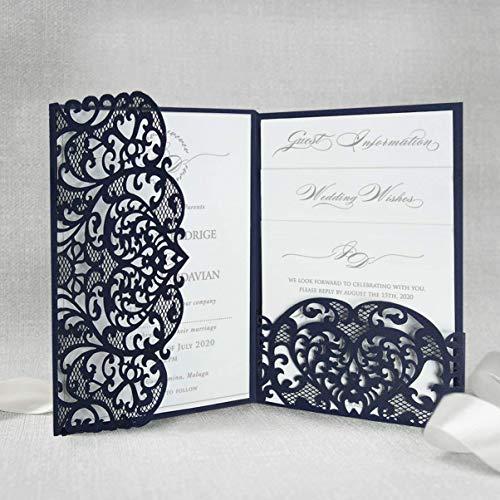Marine Blau gefaltet Einladungskarten + KUVERT Lasergeschnittene mit Spitze - Hochzeitskarten Einladungen edles Papier für Gebustag, Hochzeit, Taufe, Scrapbooking MUSTER- Sample DIY