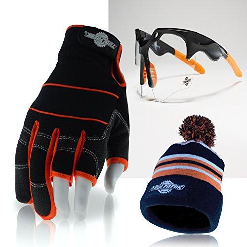 3-finger-framer Glove (toolfreak 3Finger Arbeitshandschuhe mit Clear Lens Schutzbrille + + + Mega Bonus Pom Beanie Hat + + +)
