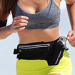 Marsupio Running,LeQeZe Sportivo Cintura da corsa con porta bottiglia fitness marsupio impermeabile per corsa