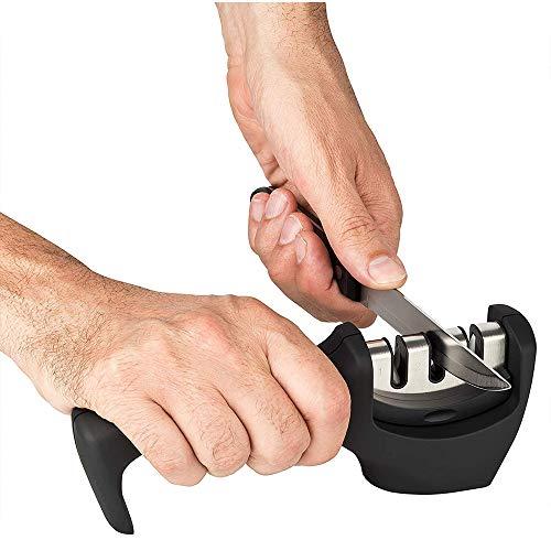 Manueller Messerschärfer, schärft stumpfe Messer schnell, diamantbeschichtetes Radsystem, geeignet für stumpfe Stahl-, Schäl-, Koch- und Taschenmesser