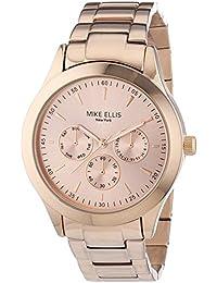 Mike Ellis New York  - Reloj Analógico de Cuarzo para Mujer, correa de Acero inoxidable color Oro rosa