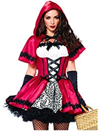 Leg Avenue 85230 - 2Tl. Kostüm Set Gothic Riding Hood, Kostüm Damen Karneval rot/weiß, M (EUR 38-40)