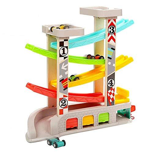 F-dujin Gleiten des Schienenwagens, Junge des Spielzeugautos des weiblichen Babys sechs Gleis Gleiswagenauto Kleinkinder der frühen Ausbildung pädagogischen Spiels