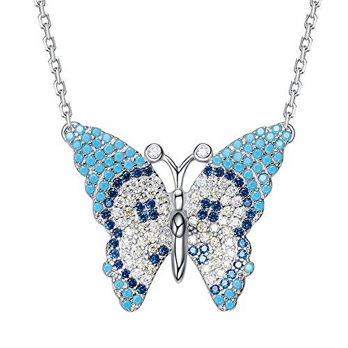 HFE Turquoise S925 Collier en Argent Sterling Femme Simple Coeur Bleu Chaud Amour Plat Bijoux