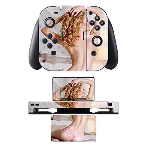 'DISAGU SF-SDI-5542_ 1033Design d'écran pour Nintendo Switch avec contrôleur et Station d'accueil-Motif Sexy Blonde Transparent