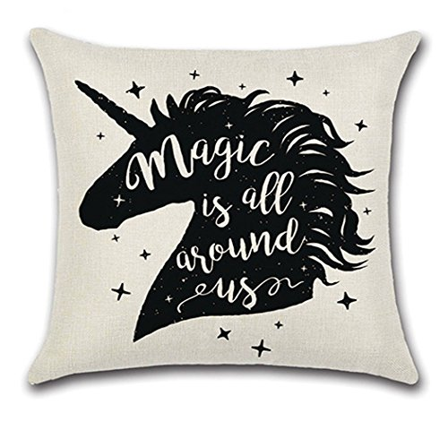 LVEDU 18 Inch Pillow Cases 4 Pack Unicorn Printed Pillow Cases Linen Fabric Throw Pillow Cushion Cover for Home Bed Sofa Car Decoration 45x45cm