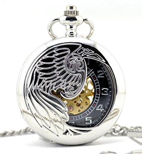infinite-u-hollow-skeleton-eagle-angel-phoenix-pendant-necklace-steel-mechanical-pocket-watch-silver