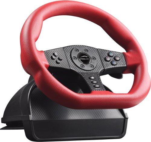 Speedlink Carbon GT Lenkrad für PC/PS3 (Schaltknauf, Gas- und Bremspedale, Vibrationsfunktion, Lenkbereich von 250 Grad) -