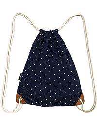 SAMGOO Drawstring Bag Canvas Lightweight Polka Dots Gym Sack Sport Bags Backpack (Navy Blue)