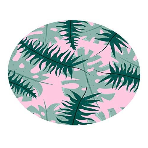 Bodenmatte Round Serria® Tropische Drucken wasserabsorbierend feinem Flanell Matte Umweltfreundlich sicher Teppich für Schlafzimmer Wohnzimmer Badezimmer Küche Durchmesser:55 cm E (Herren-badezimmer Teppich)