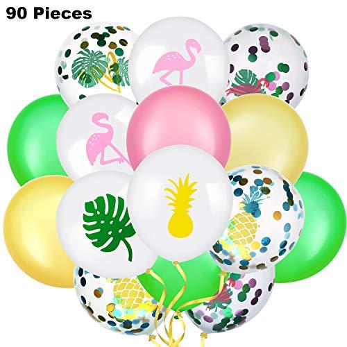 meekoo 90 Stücke Hawaiian Thema Luftballons Tropisch Party Latex Luftballons Sommer Dekorative Luftballons Flamingo Ananas Konfetti Ballon Dekorationen für Parteien (Parteien Und Luftballons)