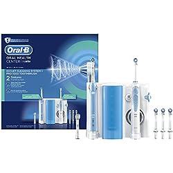 Oral-B - Estación de cuidado bucal, Oral-B PRO 1000 mango de cepillo eléctrico, Oxyjet irrigador con tecnología Braun, 4 cabezales Oxyjet, 2 cabezales de recambio