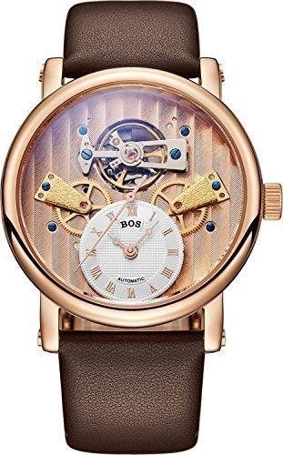 Angela Bos hombre esqueleto automático mecánico reloj impermeable negro acero inoxidable caso banda de cuero
