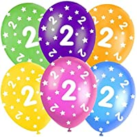 """Multi-Coloured Happy Birthday Assorted 12"""" Latex Balloons - 5 In Each Pack - Balloons feature Stars - All ages - Colours: Orange, Yellow, Green, Blue and Burgundy."""