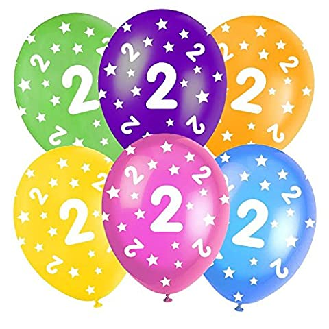 Multi-Coloured Happy Birthday Assorted 12 Latex Balloons - 5 In Each Pack - Balloons feature Stars - All ages - Colours: Orange, Yellow, Green, Blue and Burgundy. (2nd Birthday Balloons) by Good Deals Online