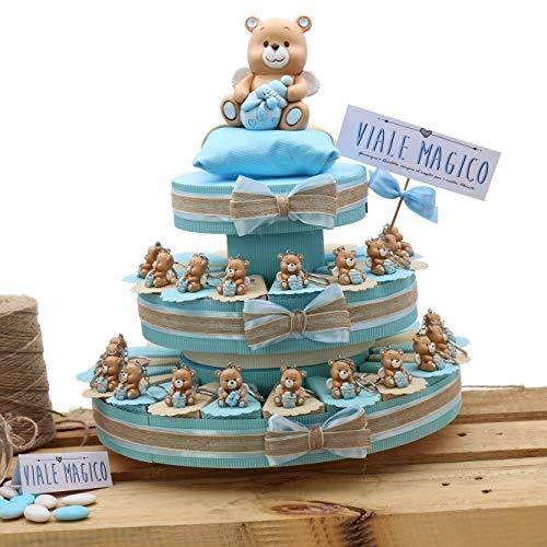 Bomboniere Nascita Battesimo Primo Compleanno Torta con PORTACHIAVI Orsetti Bimbo TR1007P (35 Pezzi)