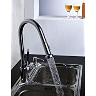 AI LI WEI Bathroom Furniture - Contemporary Solid Brass Pull Down Kitchen Faucet (Chrome Finish)