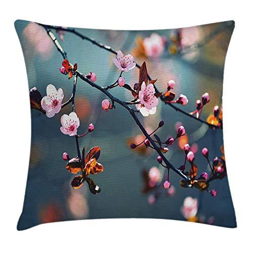 8a5137d98d Japanese Throw Pillow Cushion Cover by, Asian Symbolic Ivy Swirl Flower  Sakura Tree Dark Grey