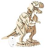 Simulus 3D Puzzle: Fernsteuerbarer Holz-Dinosaurier-Bausatz, Brüllgeräusche, 102-teilig (Puzzle-Spielzeug)