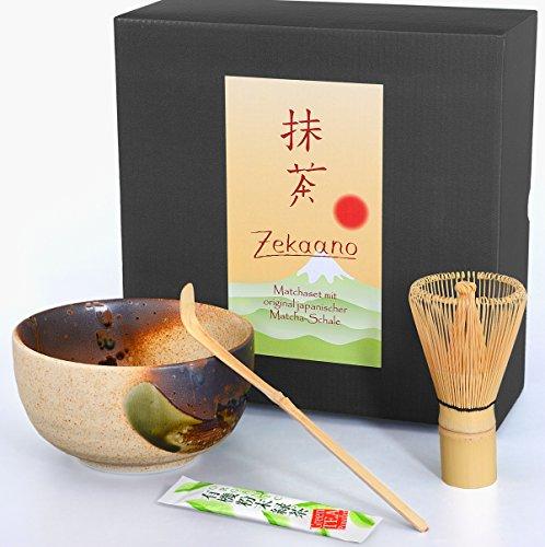 Zekaano Matcha Set - Original japanische Matcha-Schale (Chawan) beige/braun handgefertigt, Matcha-besen (Chasen) und Bambus-löffel (Chashaku), traditionell, Aricola®