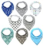 Matimati Baby Bandana Bib Set, 4-Pack Super Absorbent 100% Organic Drool Bandana Bibs (Arrows & Triangles)