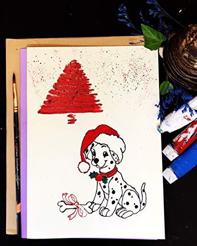 Weihnachtskarten, kleiner Dalmatiner mit Knochen, selbstgestaltet, von Hand bemalt, Acryl-Kunstdruck auf hellgelbem Hartpapier, A5-21 x 15 cm -