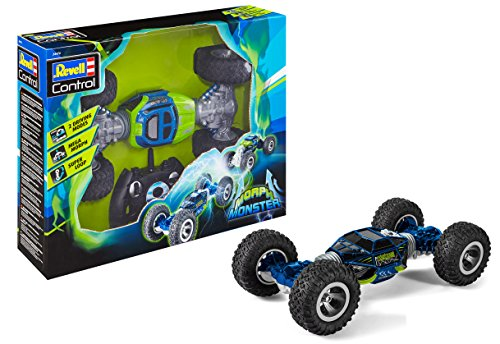 Revell Control 24476 RC Stunt Car MorphMonster, 2.4GHz, 4WD Allrad, mit Transformationsfunktion, zwei Autos in einem, beidseitig fahrbar, mit Akku, ferngesteuertes Auto, grün-blau, 33,5 cm