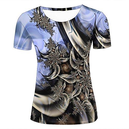 Unisex Funny 3D Printing Fractal Swirling Imagination Flower Fashion Summer Men Women T-Shirt M (Little Girls Flower Club)