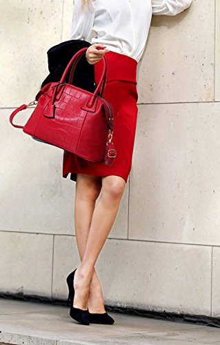 QPALZM Femminile Vintage Crocodile PatternLeather Spalla Del Tote Bag Crossbody Borse 35.27 Once (oz) Red