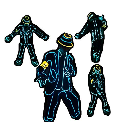 Michael Jackson Style Fluorescent Dance Performance Kostüm für Erwachsene und Kinder Unisex, EL Cold Light & Battery Powered, für Dance Party Masquerade Concerts Show (Michael Jackson Dance Kostüm)