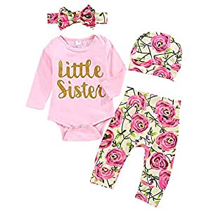 Lqz 4pcs Clothes Set Autumn Newborn Infant Baby Girl Long Sleeve