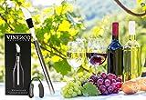 Weinkühler von VINENCO + Folienschneider, Edelstahl-Stopper & Aufbewahrungsbeutel – Premium 3-in-1 Flaschenkühler mit Dekantier-Ausgießer und Edelstahl-Kühlstab - 3