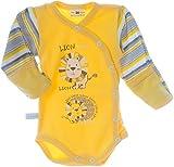 Baby Body Wickelbody mit Kratzschutz Umschlagärmel Gelb Baumwolle La Bortini (74)