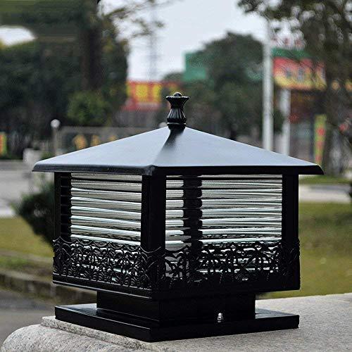 XAJGW Luz de Puerta de Estilo Europeo Columna Faros Faros Luz de Pared Plaza Puerta Exterior Pilar Luz Accesorio de iluminación de Patio LED (Color : Negro)