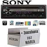 FIAT Marea & Weekend 185 - Autoradio Radio Sony CDX-G3300UV - CD/MP3/USB Multicolor - Einbauzubehör - Einbauset